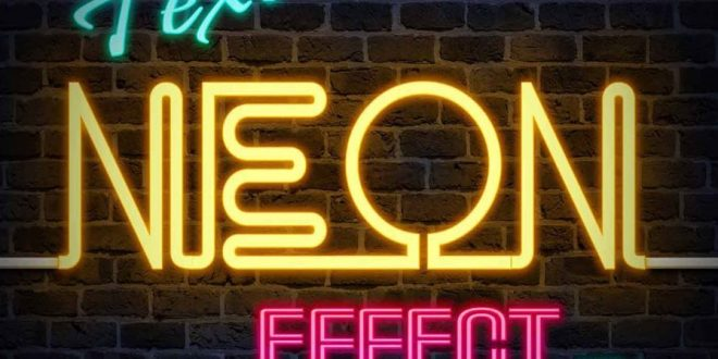 neon text effect psd photoshop