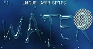water text effect psd photoshop